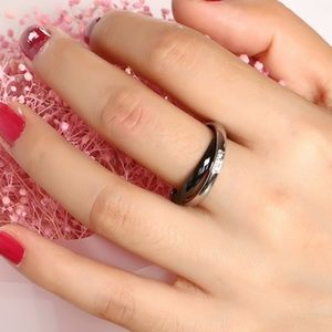 Jewelry - New - Black Ceramic & Stainless Steel Double Ring